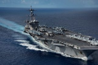 """(FILES) This US Navy handout photo obtained April 25, 2017 shows the Nimitz-class aircraft carrier USS Carl Vinson (CVN 70) as it transits the Philippine Sea while conducting a bilateral exercise with the Japan Maritime Self Defense Force in the Philippine Sea.  The US admiral who ordered an aircraft carrier and other warships toward the Korean Peninsula in a much-hyped deployment took responsibility April 26, 2017 for any """"confusion"""" after the ships sailed in the opposite direction. Amid soaring tensions ahead of North Korea's apparent ramping up for a sixth nuclear test, the US Navy on April 8 said it was directing a naval strike group headed by the USS Carl Vinson carrier to """"sail north"""" from the waters off Singapore, as a """"prudent measure"""" to deter Pyongyang.  / AFP PHOTO / US NAVY / MC SPC2nd Class Z.A. LANDERS / RESTRICTED TO EDITORIAL USE - MANDATORY CREDIT """"AFP PHOTO /US NAVY/MCSPC 2ND CLASS Z.A. LANDERS"""" - NO MARKETING NO ADVERTISING CAMPAIGNS - DISTRIBUTED AS A SERVICE TO CLIENTS"""
