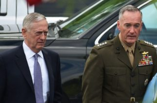 US Defense Secretary James Mattis (L) and Chairman of the Joint Chiefs of Staff Joseph Dunford are seen on West Executive Drive after briefing US senators on the situation in North Korea in the Eisenhower Executive Office Building, next to the White House on April 26, 2017 in Washington, DC. / AFP PHOTO / MANDEL NGAN