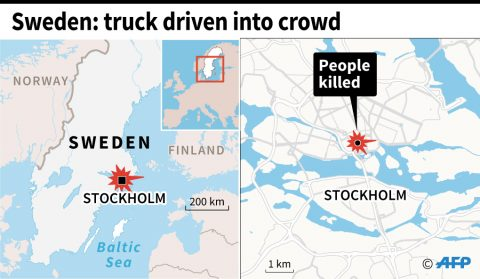 Infographics on Sweden truck attack (courtesy Agence France Presse)