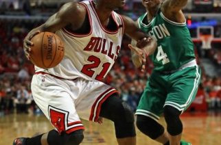 CHICAGO, IL - APRIL 28: Jimmy Butler #21 of the Chicago Bulls moves against Isaiah Thomas #4 of the Boston Celtics during Game Six of the Eastern Conference Quarterfinals during the 2017 NBA Playoffs at the United Center on April 28, 2017 in Chicago, Illinois.   Jonathan Daniel/Getty Images/AFP
