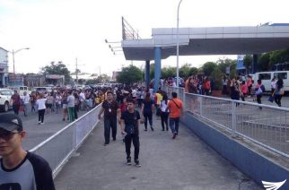 People rushed out of a mall after a series of strong quakes shook Batangas province.  (Eagle News Service)