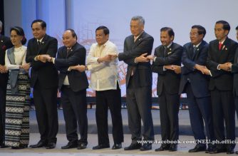 ASEAN heads of state pose for the traditional family photo at the opening of the 30th ASEAN Summit in Manila.  (Eagle News Service.  Photo courtesy Jaimar Orosa, New Era University)
