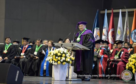 NEU Vice President for Academic Affairs and concurrent dean of the College of Law, Atty. Serafin Cuevas, addressing the NEU graduates at the 42nd commencement exercises at the Philippine Arena on Tuesday, April 18, 2017.  (Photo courtesy NEU official facebook page)