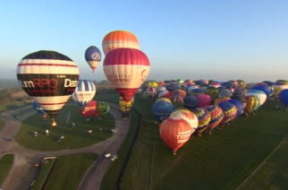 Dozens of hot air balloons cross English Channel from Dover to France in world record bid.(photo grabbed from Reuters video)
