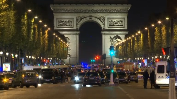 Security forces swarm on Paris' Champs Elysees after a policeman is killed, and two others wounded, in a shooting. (Photo grabbed from Reuters video)