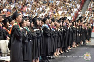 Some of the New Era University graduates inside the Philippine Arena on Tuesday, APril 18, 2017, during the school's 42nd commencement exercises.  (Photo courtesy NEU official facebook page)