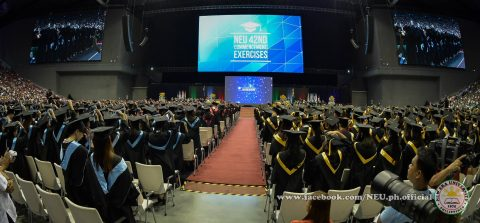 """Onwards to further victories in serving humanity""  New Era University holds its 42nd commencement exercises at the 55,000-seater Philippine Arena in Bocaue, Bulacan.  (Photo courtesy NEU)"