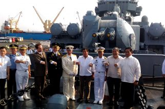 President Rodrigo Duterte with the Russian warship Varyag crew. /Jerold Tagbo/ Eagle News Service