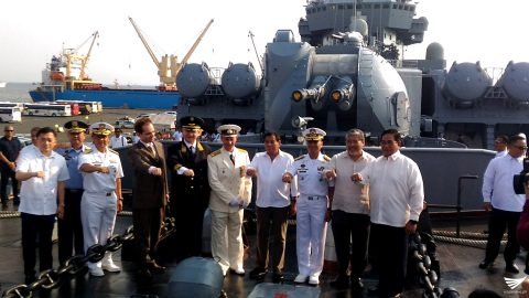 President Rodrigo Duterte with the Russian warship Varyag crew. /Jerold Tagbo/ Eagle News Service