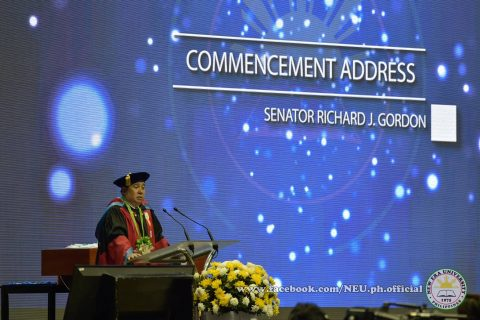 Senator Richard Gordon was the keynote speaker during the 42nd commencement exercises of the New Era University held at the Philippine Arena on Tuesday, April 18, 2017.  (Photo courtesy NEU official facebook page)