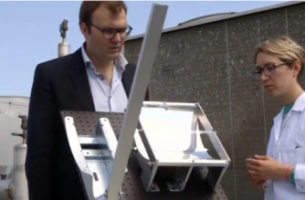 Researchers in Sweden work on how to efficiently store solar energy in a chemical liquid which can be transported and then released as heat whenever needed.(photo grabbed from Reuters video)