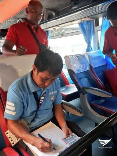 LTO personnel made the rounds in the terminal so they could check the road worthiness of the buses. Aily Millo, Eagle News Service