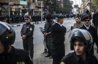 Egyptian security forces stand guard at one of the scenes of the bomb explosion. KHALED DESOUKI / AFP - Getty Images