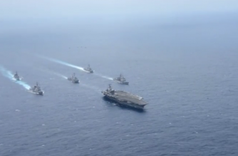U.S. Navy releases video showing American and Japanese warships purported to be in the Philippine Sea.(photo grabbed from Reuters video)