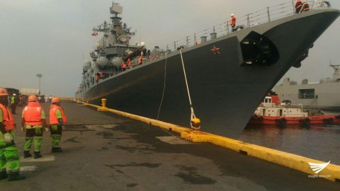 The Russian warship Varyag docked at Pier 15 of the Manila South Harbor. Jerold Tagbo, Eagle News Service
