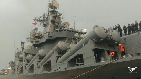 The Russian warship Varyag up close. /Jerold Tagbo/ Eagle News Service