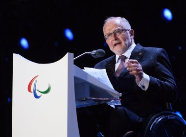 Sir Philip Craven, president of the International Paralympic Committee, addresses the audience during the closing ceremony of the Rio 2016 Paralympic Games at the Maracana Stadium in Rio de Janeiro, Brazil on September 18, 2016. Handout photo by Thomas Lovelock for OIS/IOC via AFP. RESTRICTED TO EDITORIAL USE / AFP PHOTO / Thomas Lovelock for IOS/IOC / RESTRICTED TO EDITORIAL USE.
