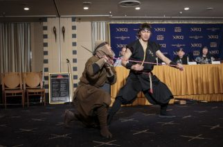 "Members of ninja group Ashura show their martial-art skills during a press conference held by Japan Ninja Council at Foreign Correspondents' Club of Japan (FCCJ) in Tokyo on February 22, 2017. The Japan Ninja Council, announced its new projects including development of tourist circuits, building a museum devoted to ninja in Tokyo to open in 2018 and a ""ninja academy"" to train the martial-art of ninja.   / AFP PHOTO / Behrouz MEHRI"