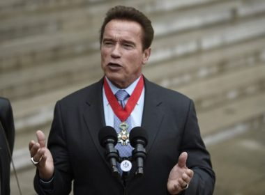 US actor and former governor of California Arnold Schwarzenegger speaks to the press after he was awarded France's highest national order the 'Chevalier (Knight) de la Légion d'Honneur' by the president of France at the Elysee Palace in Paris, on April 28, 2017.  / AFP PHOTO / STEPHANE DE SAKUTIN