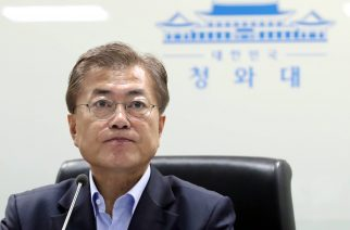 South Korea's President Moon Jae-In attends an emergency meeting of the National Security Council (NSC) at the presidential Blue House in Seoul on May 14, 2017.