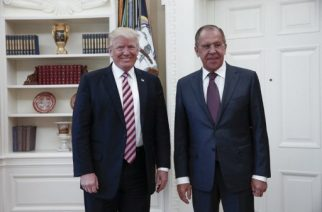 """(FILES) This file handout photo taken on May 10, 2017 made available by the Russian Foreign Ministry shows shows US President Donald J. Trump (L) posing with Russian Foreign Minister Sergei Lavrov (R) during their meeting at the White House in Washington, DC on May 10, 2017. President Donald Trump revealed highly classified information to Russia's foreign minister and ambassador to the United States during an Oval Office meeting last week, the Washington Post reported Monday, May 15, 2017. / AFP PHOTO / RUSSIAN FOREIGN MINISTRY / HO / RESTRICTED TO EDITORIAL USE - MANDATORY CREDIT """"AFP PHOTO / RUSSIAN FOREIGN MINISTRY"""" - NO MARKETING NO ADVERTISING CAMPAIGNS - DISTRIBUTED AS A SERVICE TO CLIENTS"""