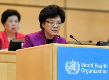 Chairperson of China's National Health and Family Planning Commission, Li Bin (R) delivers her speech next to Outgoing Director General of the World Health Organization (WHO) China's Margaret Chan on the opening day of the World Health Assembly (WHA), the WHO annual meeting, on May 22, 2017 in Geneva. / AFP PHOTO / Fabrice COFFRINI