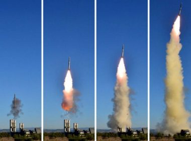 """This combo shows undated pictures released from North Korea's official Korean Central News Agency (KCNA) on May 28, 2017 of the test of a new anti-aircraft guided weapon system organized by the Academy of National Defence Science at an undisclosed location. North Korean leader Kim Jong-Un has overseen a test of a new anti-aircraft weapon system, state media said on May 28, amid mounting tensions in the region following a series of missile tests by Pyongyang. / AFP PHOTO / KCNA VIA KNS / STR /  - South Korea OUT / REPUBLIC OF KOREA OUT   ---EDITORS NOTE--- RESTRICTED TO EDITORIAL USE - MANDATORY CREDIT """"AFP PHOTO/KCNA VIA KNS"""" - NO MARKETING NO ADVERTISING CAMPAIGNS - DISTRIBUTED AS A SERVICE TO CLIENTS THIS PICTURE WAS MADE AVAILABLE BY A THIRD PARTY. AFP CAN NOT INDEPENDENTLY VERIFY THE AUTHENTICITY, LOCATION, DATE AND CONTENT OF THIS IMAGE. THIS PHOTO IS DISTRIBUTED EXACTLY AS RECEIVED BY AFP.  /"""