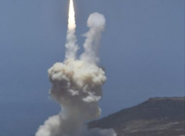 "A ground based interceptor missle take off at Vandenberg Air Force base, California on May 30, 2017. The US military said it had intercepted a mock-up of an intercontinental ballistic missile in a first-of-its-kind test that comes amid concerns over North Korea's weapons program. A ground-based interceptor launched from Vandenberg Air Force Base in California ""successfully intercepted an intercontinental ballistic missile target"" fired from the Reagan Test Site in the Marshall Islands, the military said in a statement.  / AFP PHOTO / Gene Blevins"