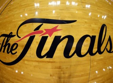 MIAMI, FL - JUNE 20: The NBA Finals logo is seen on the court before Game Seven of the 2013 NBA Finals between the Miami Heat and the San Antonio Spurs at AmericanAirlines Arena on June 20, 2013 in Miami, Florida. NOTE TO USER: User expressly acknowledges and agrees that, by downloading and or using this photograph, User is consenting to the terms and conditions of the Getty Images License Agreement.   Mike Ehrmann/Getty Images/AFP