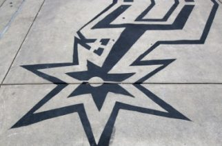 SAN ANTONIO, TX - MAY 29: The San Antonio Spurs logo is seen painted on the sidewalk entrance to the arena before Game Five of the Western Conference Finals of the 2014 NBA Playoffs between the Oklahoma City Thunder and the San Antonio Spurs at AT&T Center on May 29, 2014 in San Antonio, Texas. NOTE TO USER: User expressly acknowledges and agrees that, by downloading and or using this photograph, User is consenting to the terms and conditions of the Getty Images License Agreement.   Ronald Martinez/Getty Images/AFP