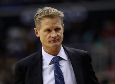 WASHINGTON, DC - FEBRUARY 28: Head coach Steve Kerr of the Golden State Warriors looks on in the first half against the Washington Wizards at Verizon Center on February 28, 2017 in Washington, DC. NOTE TO USER: User expressly acknowledges and agrees that, by downloading and or using this photograph, User is consenting to the terms and conditions of the Getty Images License Agreement.   Rob Carr/Getty Images/AFP