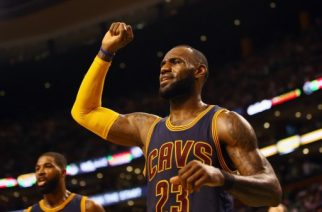 BOSTON, MA - MAY 19: LeBron James #23 of the Cleveland Cavaliers reacts in the first half against the Boston Celtics during Game Two of the 2017 NBA Eastern Conference Finals at TD Garden on May 19, 2017 in Boston, Massachusetts. NOTE TO USER: User expressly acknowledges and agrees that, by downloading and or using this photograph, User is consenting to the terms and conditions of the Getty Images License Agreement.   Adam Glanzman/Getty Images/AFP