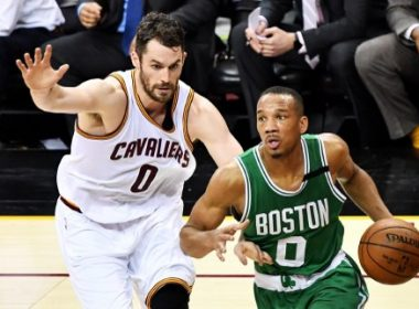 CLEVELAND, OH - MAY 21: Avery Bradley #0 of the Boston Celtics drives against Kevin Love #0 of the Cleveland Cavaliers in the first half during Game Three of the 2017 NBA Eastern Conference Finals at Quicken Loans Arena on May 21, 2017 in Cleveland, Ohio. NOTE TO USER: User expressly acknowledges and agrees that, by downloading and or using this photograph, User is consenting to the terms and conditions of the Getty Images License Agreement.   Jamie Sabau/Getty Images/AFP