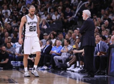 SAN ANTONIO, TX - MAY 22: Manu Ginobili #20 of the San Antonio Spurs reacts in the second half as head coach Gregg Popovich looks on during Game Four of the 2017 NBA Western Conference Finals against the Golden State Warriors at AT&T Center on May 22, 2017 in San Antonio, Texas. NOTE TO USER: User expressly acknowledges and agrees that, by downloading and or using this photograph, User is consenting to the terms and conditions of the Getty Images License Agreement.   Ronald Martinez/Getty Images/AFP