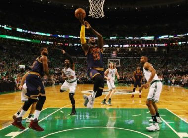 BOSTON, MA - MAY 25: LeBron James #23 of the Cleveland Cavaliers drives to the basket in the first half against the Boston Celtics during Game Five of the 2017 NBA Eastern Conference Finals at TD Garden on May 25, 2017 in Boston, Massachusetts. NOTE TO USER: User expressly acknowledges and agrees that, by downloading and or using this photograph, User is consenting to the terms and conditions of the Getty Images License Agreement.   Elsa/Getty Images/AFP