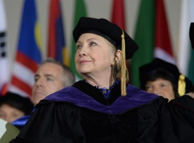 WELLESLEY, MA - MAY 26: Hillary Clinton listens during commencement at Wellesley College May 26, 2017 in Wellesley, Massachusetts. Clinton graduated from Wellesley College in 1969.   Darren McCollester/Getty Images/AFP