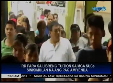 IRR para sa libreng tuition sa mga SUC's sinisimulan na ang pag-amiyenda