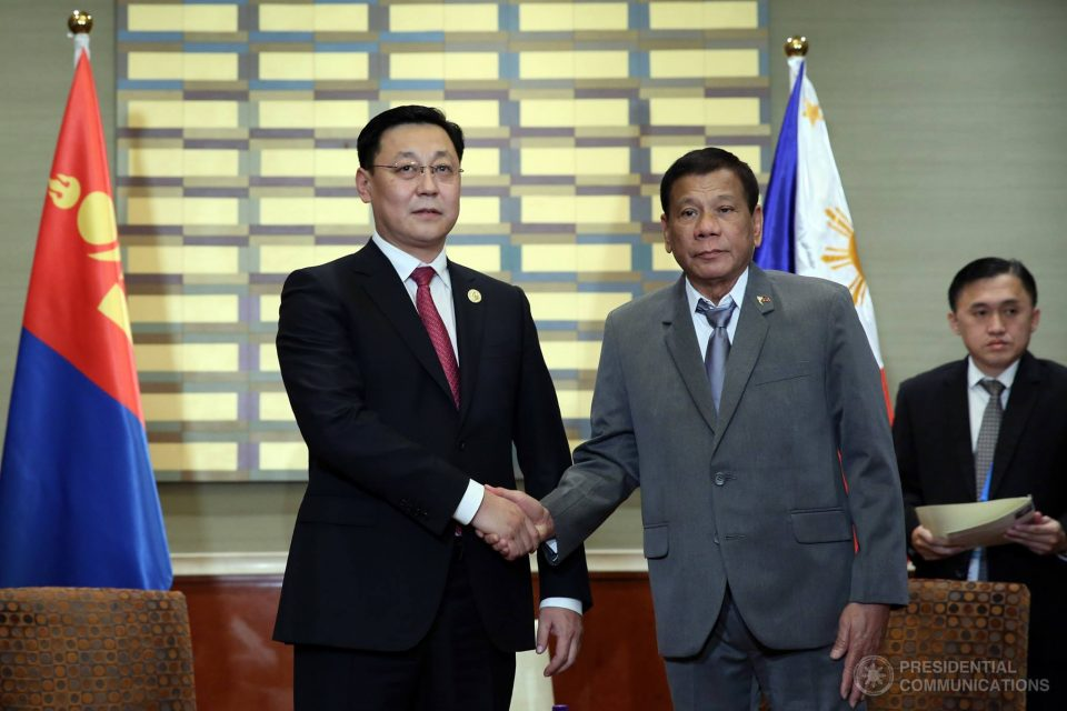 President Duterte meets with Mongolian Prime Minister Jargaltulgyn Erdenebat