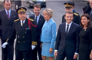 New French President Emmanuel Macron went for a walkabout outside Paris town hall on Sunday (May 14) to greet well-wishers in the last stop of a busy inauguration day. Photo grabbed from Reuters video file.