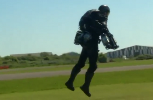 "The British inventor of an ""Iron Man""-style jet suit has lofty hopes for powering his creation from a curiosity to a tool in industries ranging from entertainment to the military.(photo grabbed from Reuters video)"