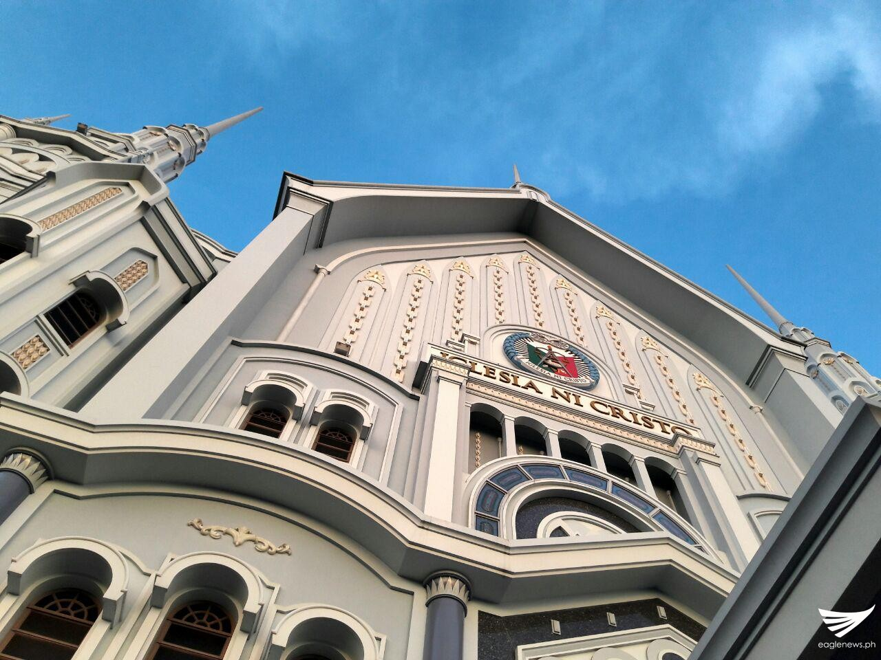 A beautiful blue sky was also seen at the top of Iglesia Ni Cristo's church in Capitol, Quezon City.