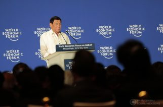 President Rodrigo Duterte speaking at the World Economic Forum in Cambodia.  (Photo courtesy PCO)