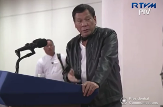 President Duterte speaking to reporters upon his arrival Tuesday dawn (May 16, 2017) at the Davao International Airport from his officials visits to Cambodia, Hong Kong and China.  (Photo grabbed from RTVM video)