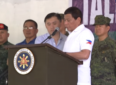 President Rodrigo Duterte talks to the men of Joint Task Force Sulu at the Camp Teodulfo Bautista in Jolo, Sulu on May 27, 2017