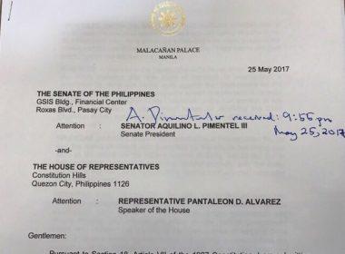 Bahagi ng report ukol sa mga batayan sa pagdedeklara ni Pangulong Rodrigo Duterte ng martial law sa Mindanao.