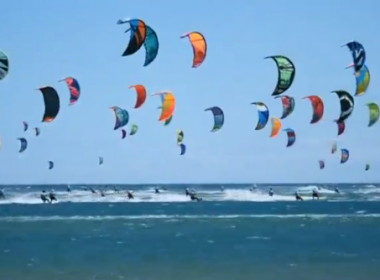 More than 250 kitesurfers race off France coast for Defi Kite title(photo grabbed from Reuters video)