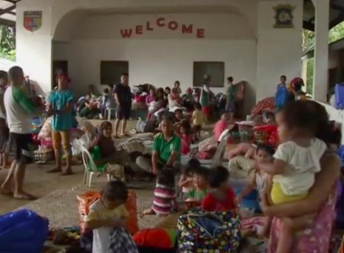 Residents took shelter at makeshift evacuation centres in the southern Philippines on Thursday (May 25), as government troops continued their assault against Islamic militants. Photo grabbed from Reuters video file.