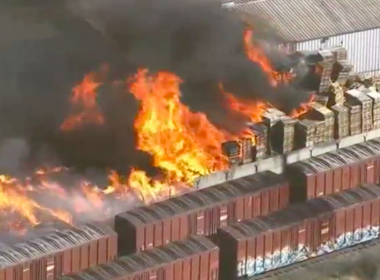 A large fire at a wood pallet yard in Stockton, California, was threatening some homes and gutted several vehicles in a residential neighborhood on Thursday (May 25). Photo grabbed from Reuters video file.