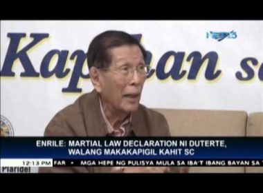 Enrile supports declaration of martial law in Mindanao