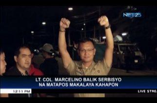 Lt. Col. Marcelino now back in service